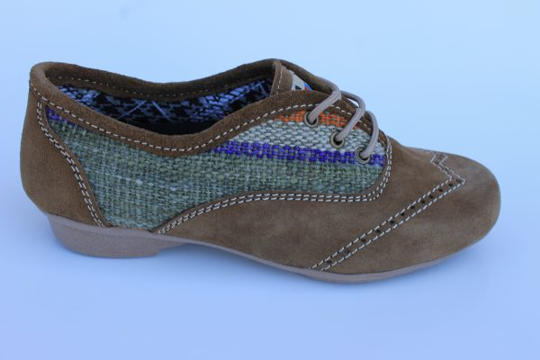 Gatsby Light Brown Leather with Multi Colored Textile